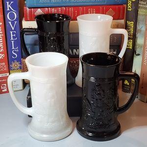 Dining - Vtg Black & White Iridescent Glass Steins
